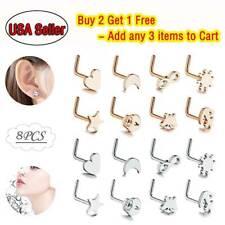 20G 8PCS L-Shape Nose Rings Surgical Steel Ear Studs Cartilage Helix Piercing