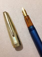 VINTAGE STEPHENS BLUE GT FOUNTAIN PEN-18CT GOLD PLATED NIB-SPARES/REPAIR.