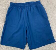 Nike Medium Swim Trunks Drawstring Waist Blue w/Gray & Black Side Seam Detail