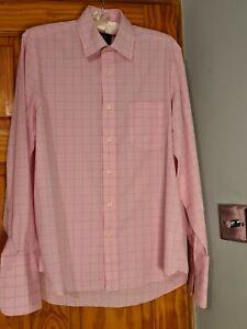The Savile Row company pink/blue fine stripe shirtSize 16 classic Fit Cotton VGC