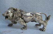 China Folk Refined white Copper Silver Feline animal Ferocious Male lion Statue