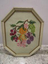 """Vintage Needlepoint Framed Picture Fruit 15"""" tall"""