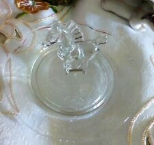 MOLDED GLASS PIN DISH WITH HORSE FIGURE TO THE CENTRE