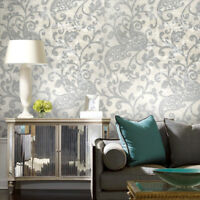 Wallpaper white ivory gray silver metallic textured rustic damask modern roll 3D