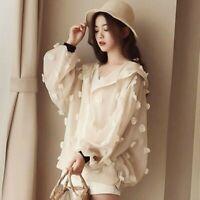 Lady Organza Hooded Jacket Coat Sheer Loose Pom Pom Ball Long Sleeve Outwear Top