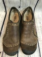 Keen Women's Nubuck Leather Slip On Loafer Chamoix Brown Comfort Shoes Sz 8