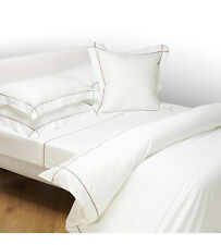 Yves Delorme Athena White Queen Duvet Taupe Piping Egyptian Cotton Sureau NEW