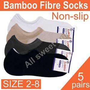 5 pairs Size 2-8 Women's Bamboo Non-slip Extra Low Cut Socks Anti-bacteria Socks