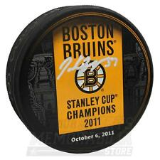 Patrice Bergeron Boston Bruins Signed Autographed Stanley Cup Champs Banner Puck