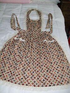 Vintage hand sewn bib apron brown orange cream print eyelet trim EXCELLENT