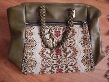 Tasche Handtasche Gobelin Grün 70er Stickerei  Vintage
