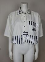 VINTAGE WOMEN'S CROPPED BUTTON-DOWN SHIRT - AT LAST - SIZE M