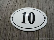SMALL ANTIQUE STYLE ENAMEL DOOR NUMBER 10 SIGN PLAQUE HOUSE NUMBER FURNITURESIGN