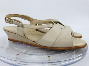SAS Caress Cross Strap Bone 8.5 M Slingback Ankle Strap Wedge Open Toe Sandals