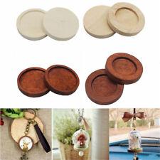 10pcs Round Wooden Cameo Cabochon Setting Base/Tray Pendants DIY Necklace Making