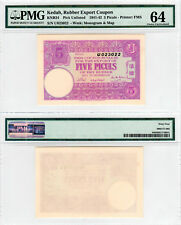 FMS Kedah Rubber Export Coupon 5 Piculs KNB24 (1941-42) PMG 64