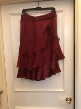 The Limited Silk Skirt Size 6 Red Maroon Tiered Ruffles Flower Flowy