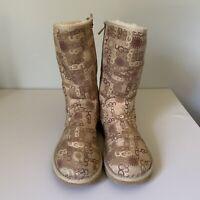 UGG AUSTRALIA  logo Boots Tan Sheepskin Lining Size US 9 *RARE*