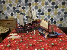 Large Playmobil Pirate Bundle Fully Furnished& Many Figures