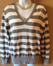 Women's Liz Claiborne XL Sweater Stripe Silver And White V Neck Top