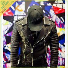 Men's Stylish Slim Fit Lambskin Genuine Leather Motorcycle Biker Jacket DT03