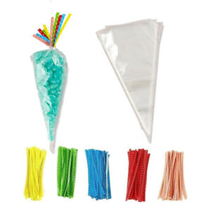 Cone Bag Clear Cellophane Wedding Favours Packaging Gift Cello Sweets Candy Cart