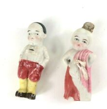 """Vintage Miniature Asian Chinese Man & Girl Bisque Frozen/Penny Dolls Japan 3"""""""