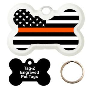 THIN ORANGE LINE FLAG - SEARCH & RESCUE - CUSTOMIZED - PET TAG - BONE Shape