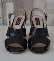 Principles by Ben de Lisi Black Strappy Woven Block Heel Sandals Shoes Size 3