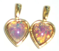 Vintage Charms Pink Fire Opal Harlequin Dangles Drops Glass Hearts Heart#1443Q