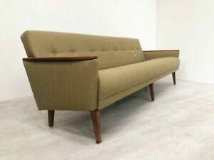 Danish Mid Century 60s Model 55 Grande 4 Seater Teak Cocktail Lounge Sofa Olive