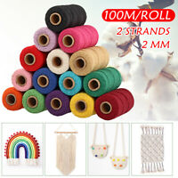 2mm 100m/Roll Waxed Cotton Thread Cords String Thread Macrame Craft Jewelry