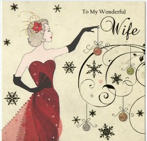 'TO MY WONDERFUL WIFE' CHRISTMAS GREETING CARD - QUALITY - FOILED - FREE P&P