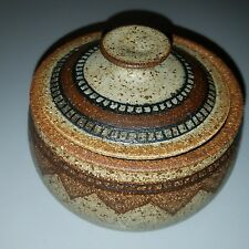 Vintage studio art pottery bowl with lid  brown peppered southwest pattern 5""