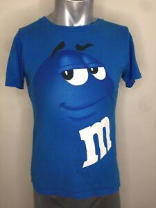 M&M's Small Men's T-Shirt Blue M&m Funny Portrait Face 2016 Made Mexico