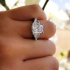 Natural 2.00 ct 3-Stone Radiant Diamond Engagement Ring w/ Trillion K SI1 14K