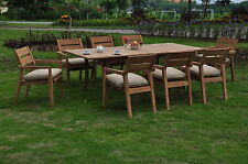 "9 PC OUTDOOR DINING TEAK SET - 94"" DOUBLE EXTN RECT TABLE & 8 STACKING CHAIRS"