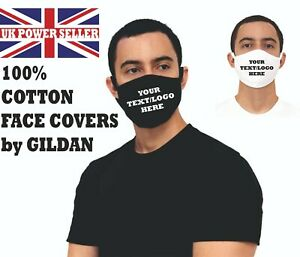 PERSONALISED Face Masks, by GILDAN - 100% COTTON - Any logo or Text - Adult size
