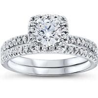 VS 5/8 Ct Lab Grown Diamond Cushion Halo Engagement Wedding Ring Set White Gold