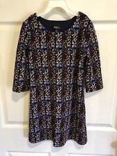 Amy Wear Girl's Dress Size 10 Popover Lined Navy Gold Rust White Excellent Cond
