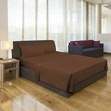 1800 Count Solid Color Deep Pocket Microfiber Bed Sheet With Pillow Cover Brown