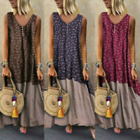 Plus Size Women Vintage Patchwork Casual Loose Boho Long Retro Maxi Dress ZC