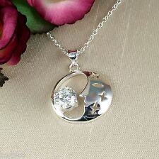 N5 Silver Plated and Clear Crystal Moon and Stars Pendant Necklace