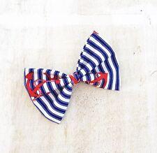 Rockabilly Pin up nautical Sailor Hair Bow clip Blue & White Stripe Anchor Print