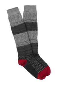 Smartwool Popcorn Cable Knit Contrast Stitch Gray Knee High Socks Women Med7-9.5