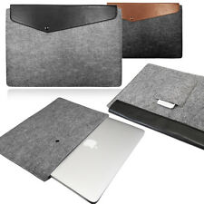 Smart Laptop Felt Sleeve Case Cover Bag with Leather FLAP for Apple Macbook