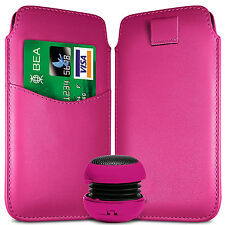 CARD SLOT PU LEATHER PULL FLIP TAB CASE COVER & SPEAKER PEN FOR HTC PHONES