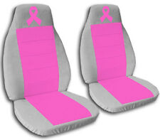 2 Front Silver and Hot Pink Ribbon Seat Covers Universal Size