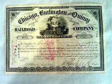Chicago Burlington & Quincy Railroad Stock Certificate 1891