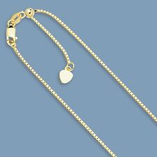 0.85mm Solid Adjustable Venetian Box Chain Necklace Real 10K Yellow Gold 22""